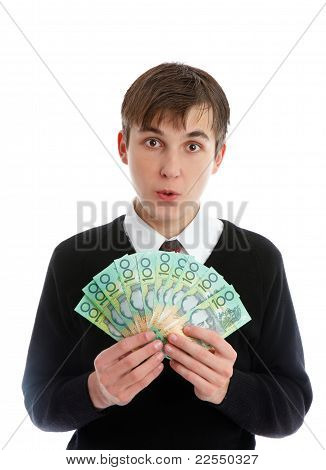 Student Or Young Worker Holding Money