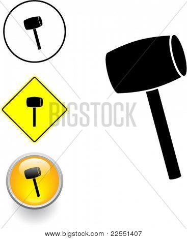 mallet tool symbol sign and button
