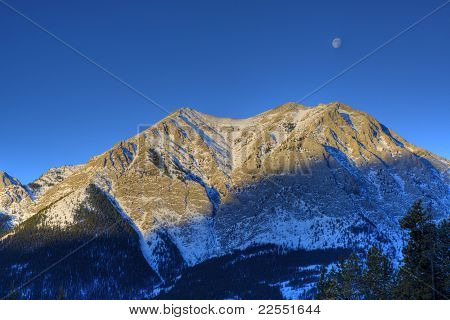 HDR Rocky Mountain with moon