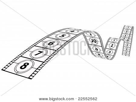 film strip with numbers