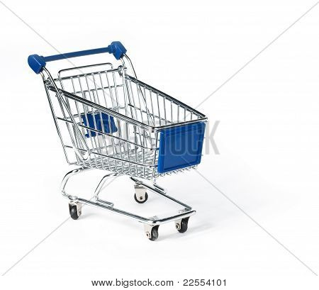 Isolated shopping trolley over white