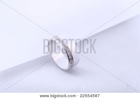 Diamond Wedding Rings On White Background