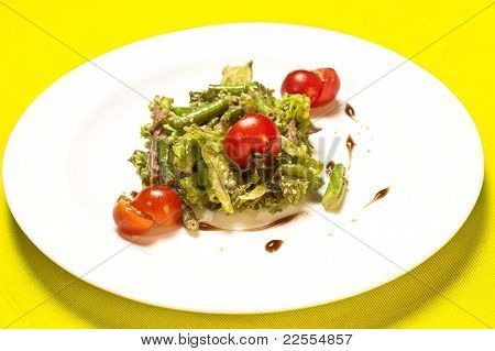 Closeup Of Plate Of Asparagus And Tomato Salad