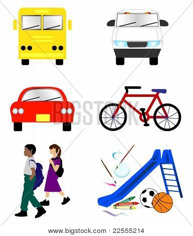 School Transportation Icons