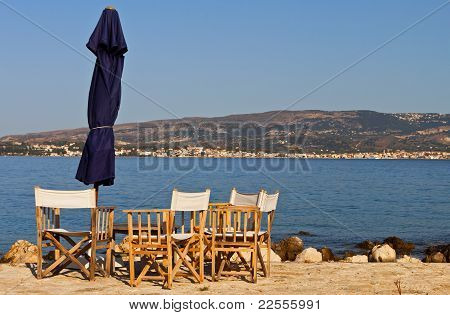 Beach bar at the sinkholes on Lassi area of Kefalonia