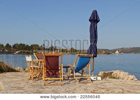 Beach bar on Lassi area of Kefalonia