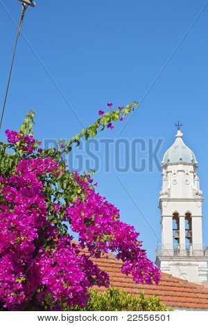 Steeple at Svoronata village of Kefalonia island in Greece