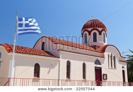 Traditional church at Lakithra village of Kefalonia island