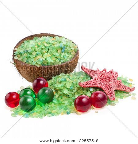 sea salt with bath aromatic balls and seastar  isolated on white background