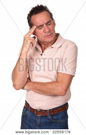 Stressed Worried Middle Age Man with Headache
