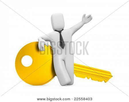 Businessman with key. Image contain clipping path