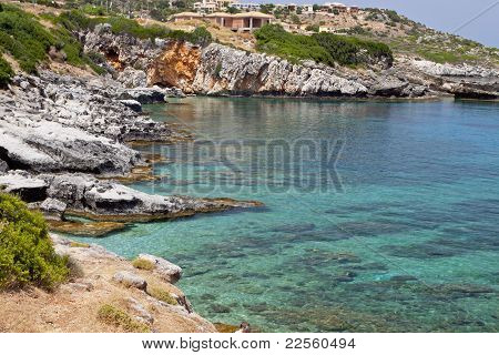 Rocky beach formation at Kefalonia island