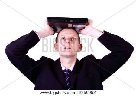 Man With Laptop On Head