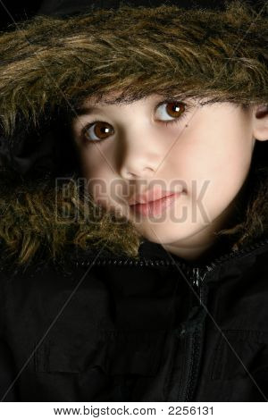 Boy In Furry Hooded Coat