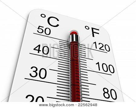 Thermometer zeigt extrem hohen Temperatur