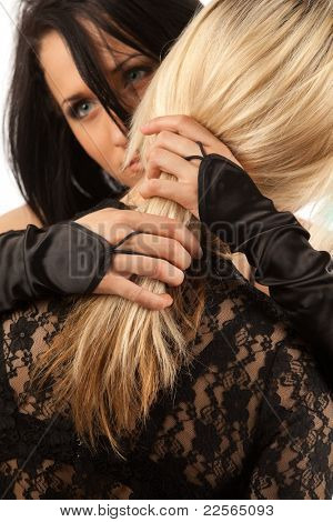 Young attractive lesbian couple embracing