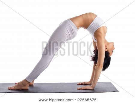 young woman doing yoga bridge pose isolated