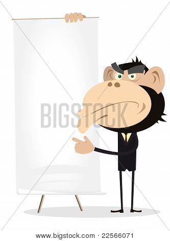 Monkey Businessman Holding A Paper Board