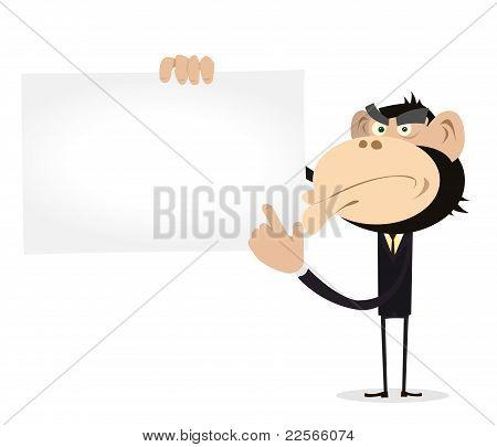 Monkey Businessman Holding A Vcard