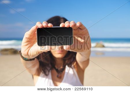 Blank Screen Mobile In Woman Hands