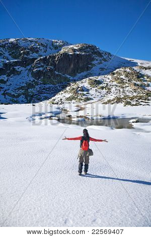 Happy Winter Hiking Woman On Snow