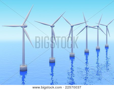 Many Windmills On Sea