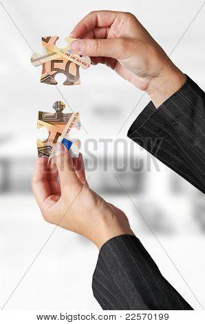 European financial crisis concept with puzzle