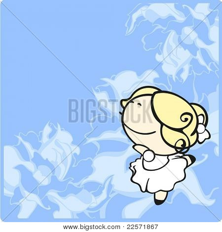 Card with a cute little dancing ballerina