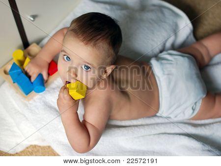 Cute Little Boy With Bricks