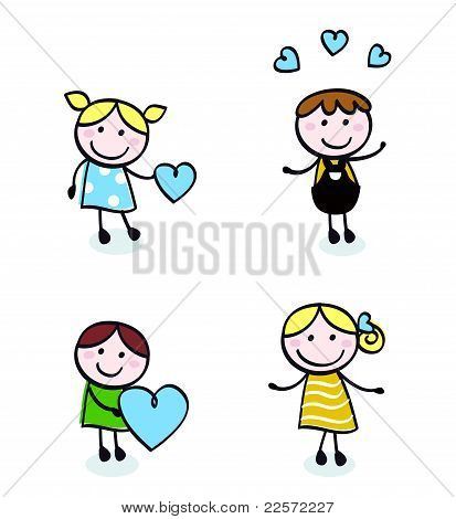 Doodle Retro Stitch Kids With Love Icons Isolated On White.