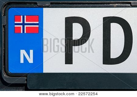 Norwegian Vehicle Registration Plate