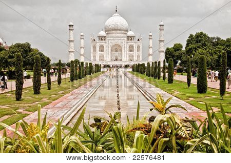 Taj Mahal with garden foreground