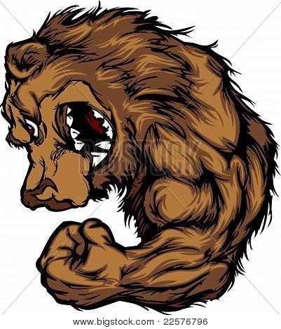 Doblar el brazo de la historieta de la mascota del oso