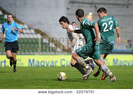 KAPOSVAR, HUNGARY - JULY 30: Unidentified players in action at a Hungarian National Championship soccer game - Kaposvar (green) vs Videoton (white) on July 30, 2011 in Kaposvar, Hungary.