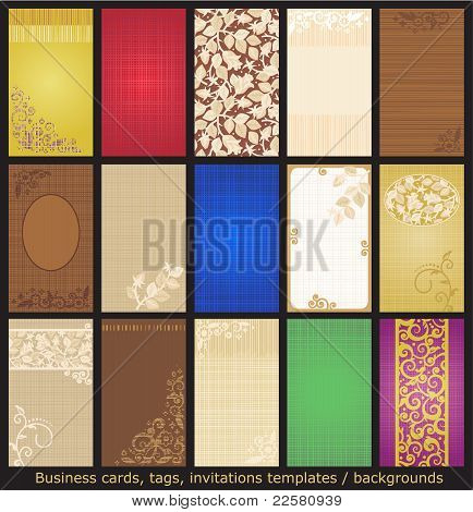 Business cards, tags, invitations templates