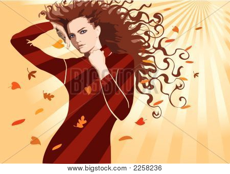 Fine Girl With The Hair Dismissed By An Autumn Wind
