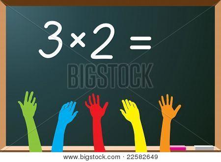School Students Raising Hands