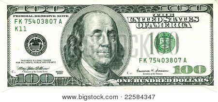 Closed Eyed Franklin 100 Us Dollar Bill