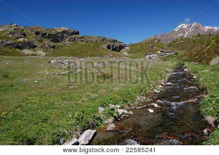 Alpine mountain river landscape