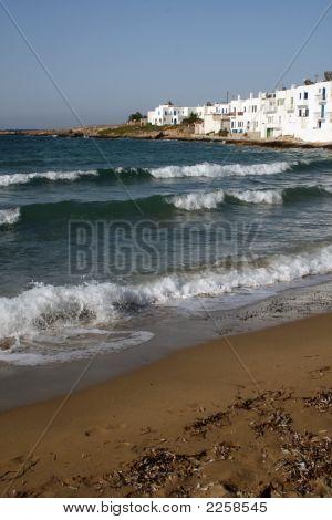 Beach At The Town Of Naoussa, Paros Island - Greece