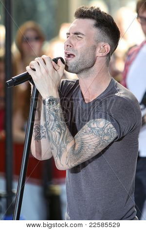 NEW YORK - AUGUST 5: Singer Adam Levine performs with Maroon 5 on the Toyota Today Show Concert Series at Rockefeller Plaza on August 5, 2011 in New York City, NY