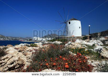 Traditional Whitewashed Windmill - Paros Island, Greece