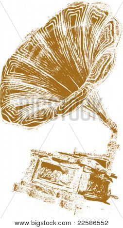 music background-retro gramophone on eroded grunge paper,vector illustration