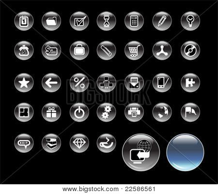 Set of icons for website, round glass icons for network
