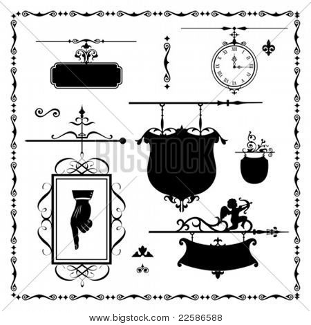 Antique signboard - Ready for Your Label. Vector illustration.