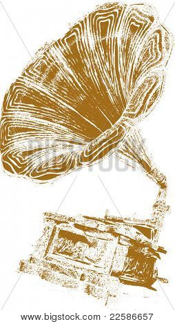 music background-retro gramophone on eroded grunge paper,vector illustration