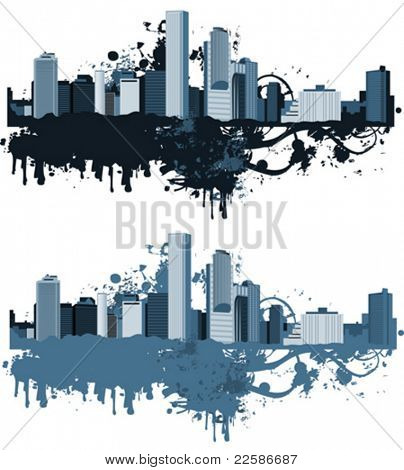 Panorama of the big city. Grunge styled. Urban background. Vector illustration