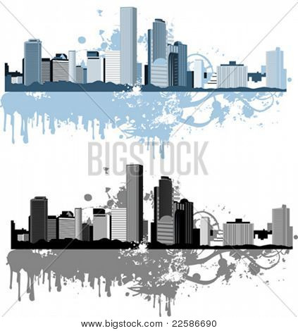 Panorama da cidade grande. Estilo grunge. Fundo urbano. Ilustração vetorial