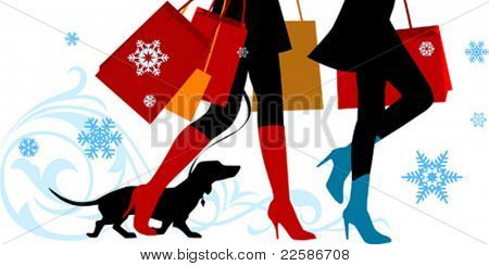 Vector illustration, woman sexy legs with bags. Christmas shopping