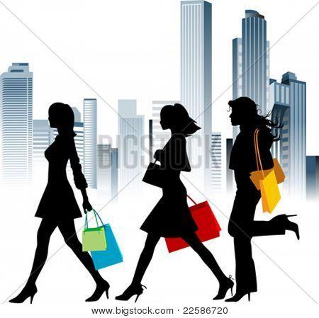 Chicas de compras. Fondo urbano. Ilustración del vector.